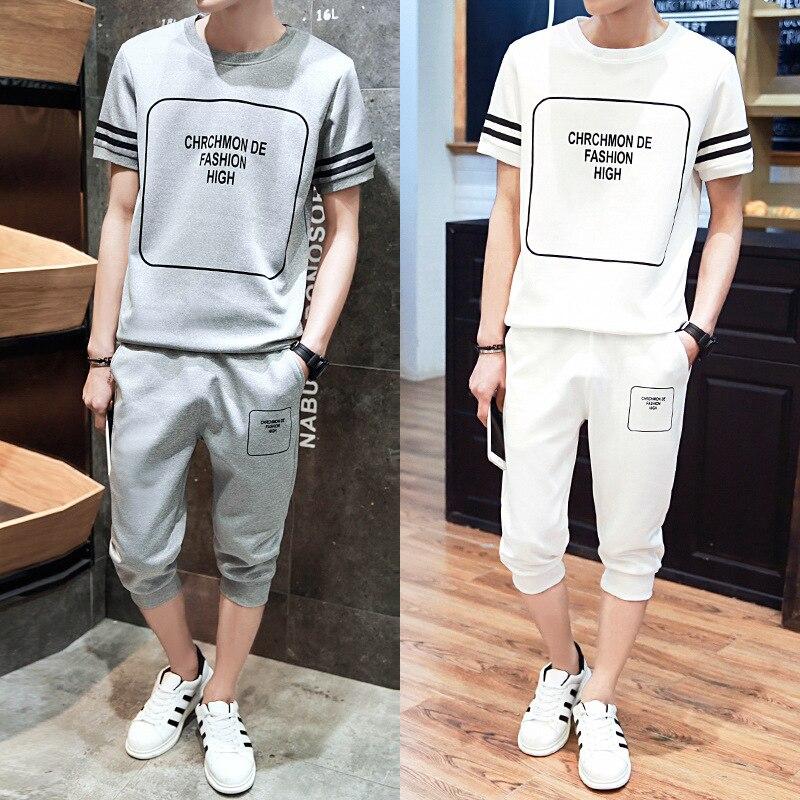 Casual MEN'S Suit Summer Capri Pants Loose-Fit Korean-style Short Sleeve Two-Piece Set Trend Students Handsome Clothes A Set