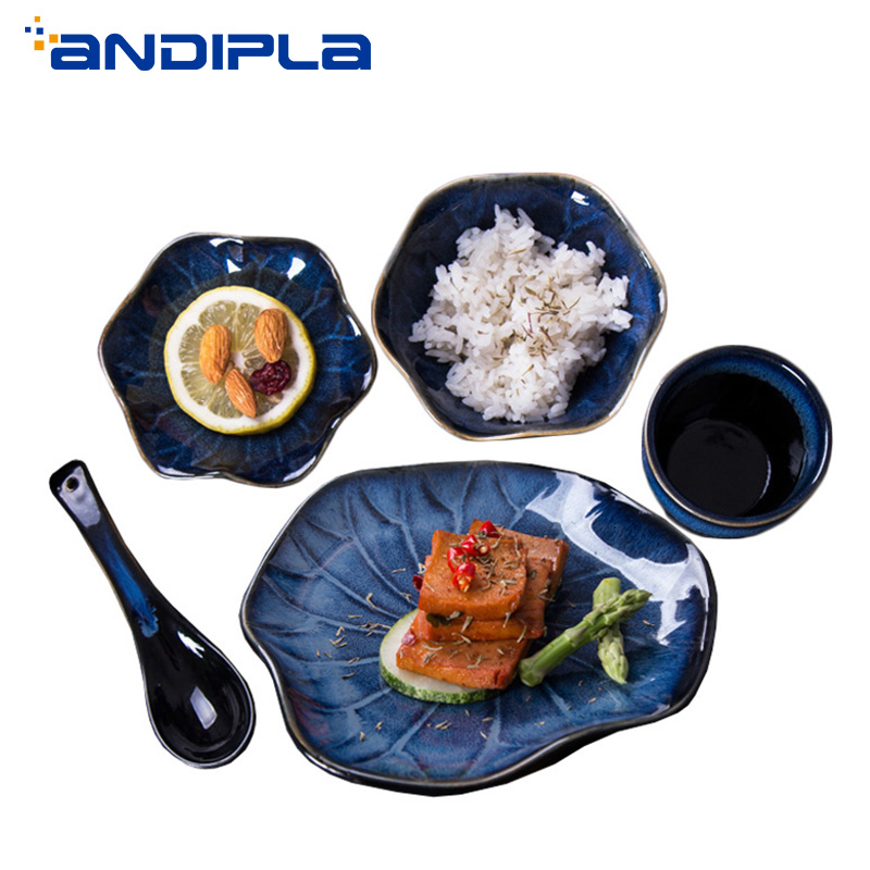 Style japonais haute qualité four en céramique changement motif vaisselle cuillère bol assiette plat Restaurant maison cuisine vaisselle ensemble