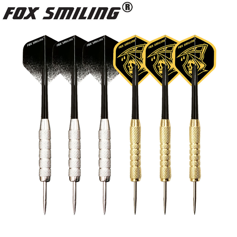 Fox Smiling 3PCS/Sets Darts 18g Golden / 22g Silver Steel Tip Dart With Cool Pattern Dart Flights