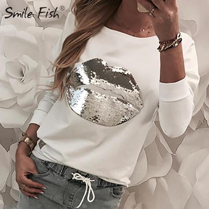 Sequined Lip Patchwork Harajuku Pullover Tops Women Casual White Tee Shirt 2020 Femme Long Sleeve O-neck Jumper Streetwear G1113