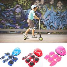 7 Pcs Outdoor Sports for Kids Bicycle Helmet Safety Bike Guard Pad Skating Elbow Knee Protection
