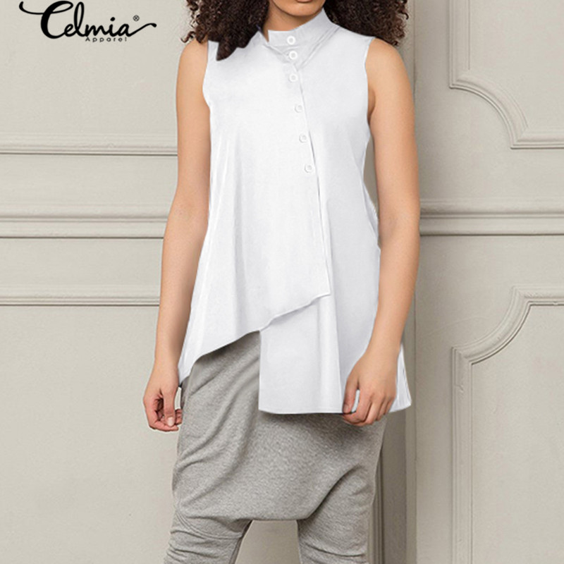 Celmia Sleeveless Female Tops Womens Blouses 2020 Summer Vintage Asymmetrical Shirts Casual Loose Buttons Work Blusas Femme 5XL