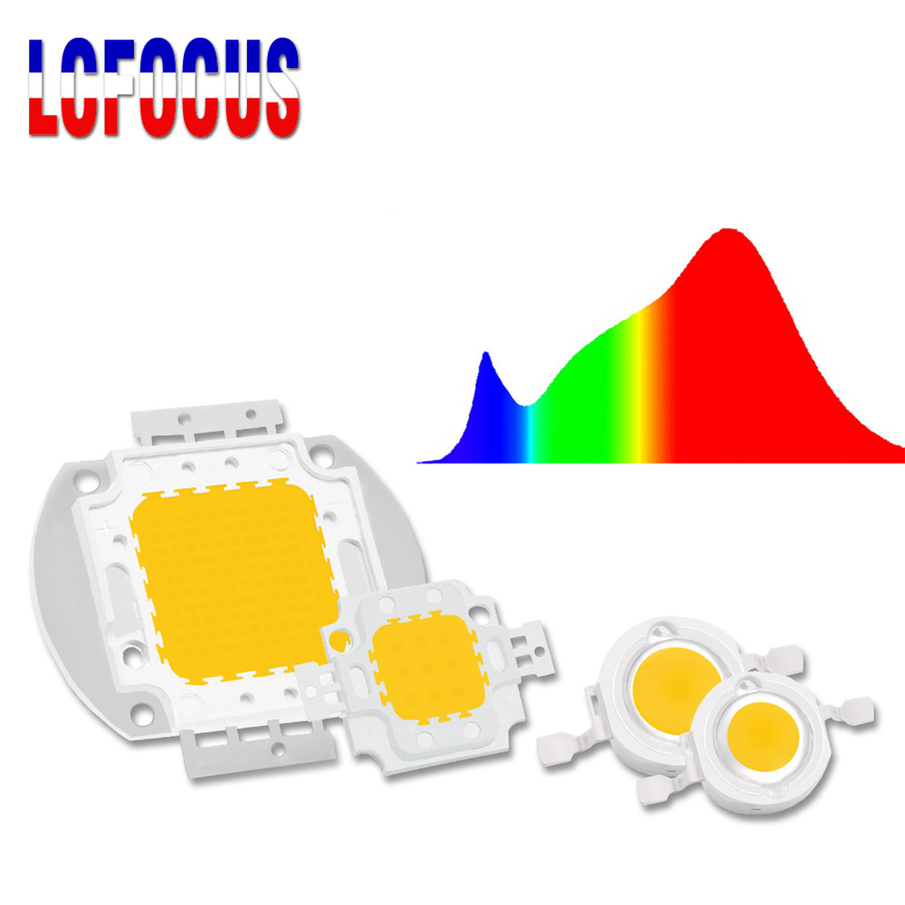 1W 3W 5W 10W 20W 30W 50W 100W LED Grow Light Chip COB Full Spectrum 380-840nm For Indoor Plant Vegetable Flower Seeding Growing