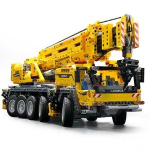 Technic серии двигатель мощность мобильный кран MK модель детей образовательные строительные блоки кирпичи совместимы с Lepined 42009 подарки
