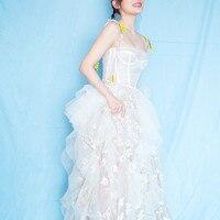 Luxury Brand Runway Designer Celebrity Princess Dress Women White Floral Embroidery Long Maxi Mesh Formal Elegant Dresses Female