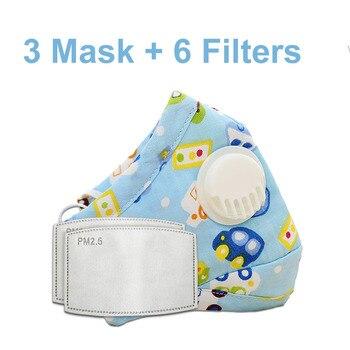 3 PCS Del Fumetto PM2.5 Bambini Maschera Maschera Con 6 Filtri Respiro Bocca Valvola Viso Maschera Per Bambini Lavabile Maschera Maschera di Polvere a prova di sterile In Magazzino 8