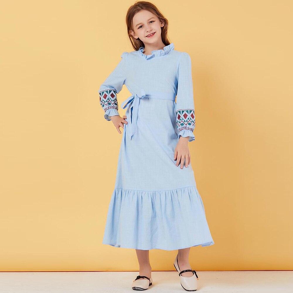 Girls Abaya For Kids Turkey Children Hijab Muslim Dress Abayas Embroidery Islam Kaftan Dubai Caftan Qatar Omani Islamic Clothing