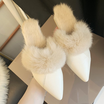 Fashion Pointed Temperament Plush Low-heeled Slippers Set Foot Vacation Solid Color Comfortable Casual Women Shoes