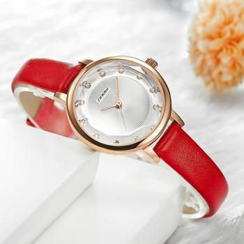 SINOBI New Women Watches Simple Ripple Diamond Dial Small Elegant Ladies Watch Red White Leather Quartz Wristwatch Female Gifts
