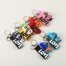 New Korean Version of The Bear Ribbon Key Ring Cute Teddy LOVE Pendant Student Chain Bag