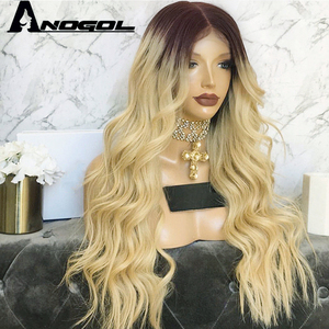 """Image 2 - Anogol Dark Roots Ombre Blonde Long Body Wave 24"""" Heat Resistant Hair Wig Synthetic Lace Front Wigs For Black Women"""