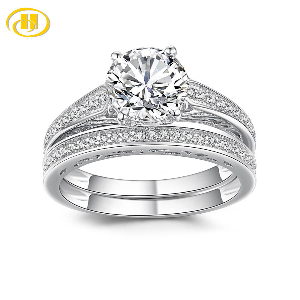 Hutang Wedding Jewelry Real 925 Sterling Silver Bridal Set Shinning Zirconia Finger Rings for Women Promise Alliance(China)
