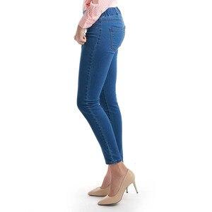 Image 2 - 11.11 סתיו חורף מינימליסטי נשים ג ינס סקיני למתוח מזויף קדמי כיס בינוני מותן שטף כחול Slim אלסטי גברת ג ינס