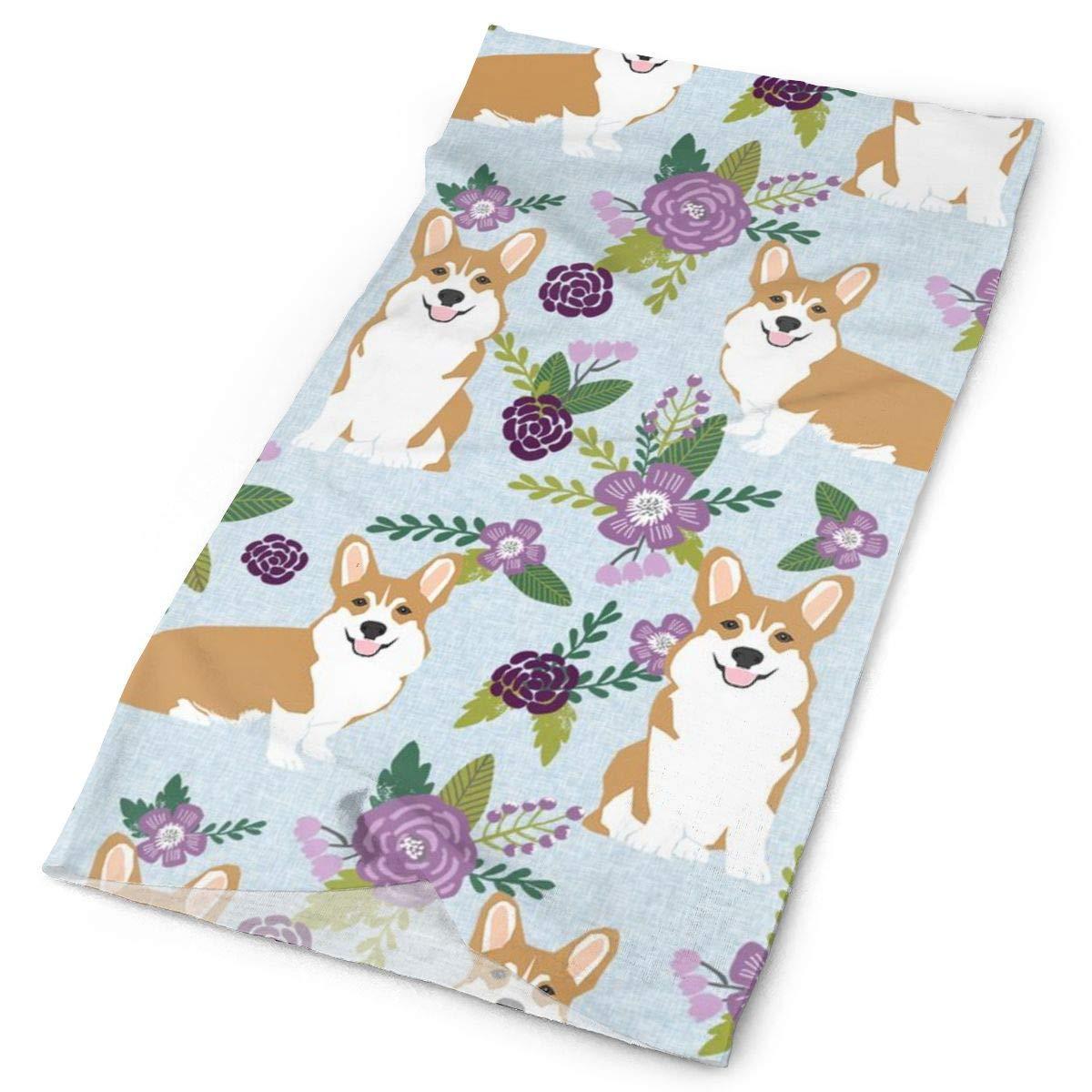 Corgi Christmas Fabric Xmas Corgi Dogs Unisex Bandana Face Mask Warmer Neck Tube for Dust Wind Sun Protection