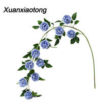 Xuanxiaotong 1pc 145cm Blue Peony Artificial Flowers String 11 Head Pink Peonies Vine Home party Rose Garden Decoration