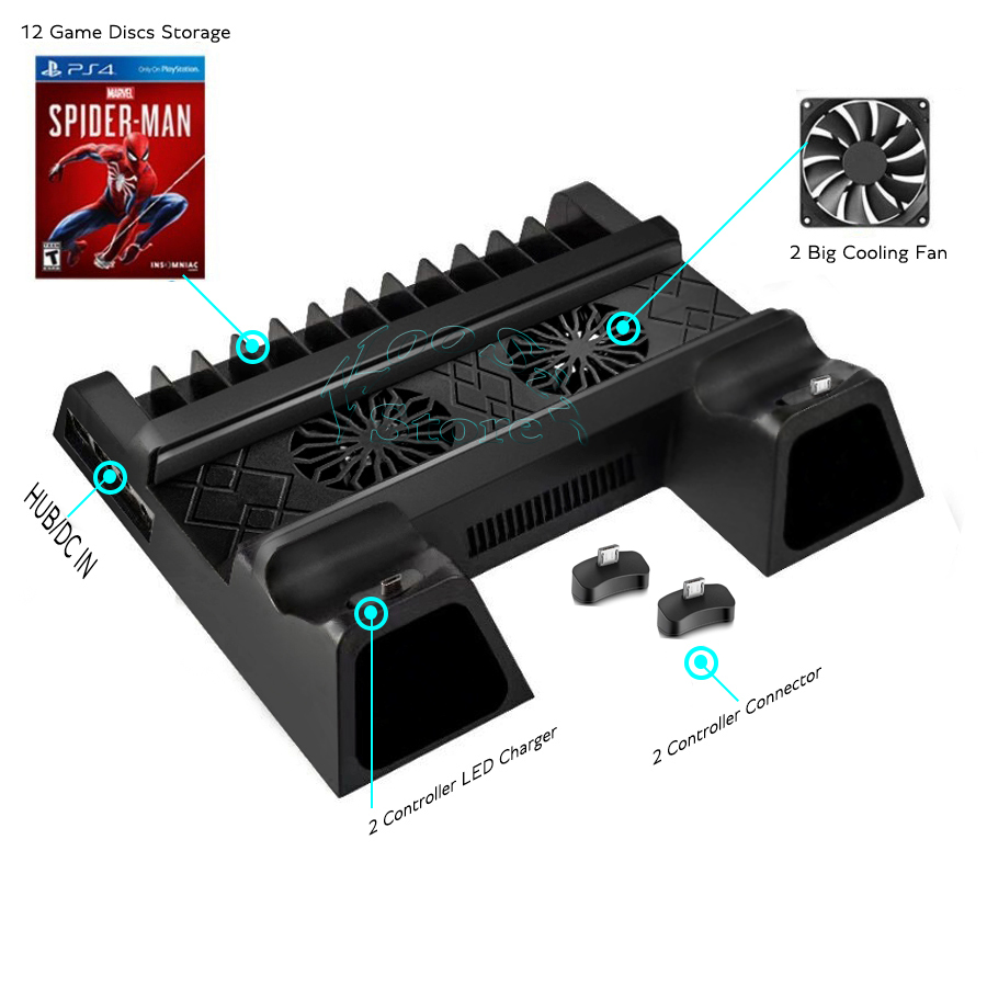 Ps 4 Slim Console Bracket PS4 S Stand 2 Joystick Charger 2 Cooling Fan 12 Discs Holder for Playstation 4 Slim Games Accessories 3