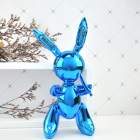 Balloon Rabbit Shiny Modern Abstract Home Decorations Art Ornament Resin Crafts Sculpture Creative Gifts