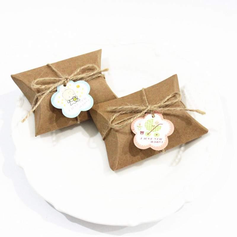 Kraft papier boîte à bonbons cadeaux de mariage boîte pour invités fête d'anniversaire bébé douche garçon fille cadeau sac fête décoration fournitures