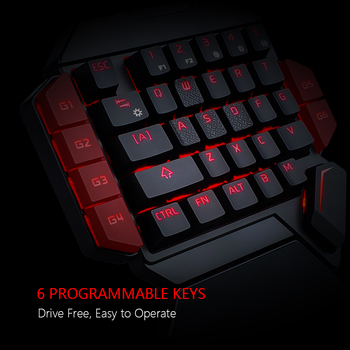 RedThunder One-Handed Mechanical Gaming Keyboard RGB Backlit Portable Mini Gaming Keypad Game Controller for PC PS4 Xbox Gamer 5