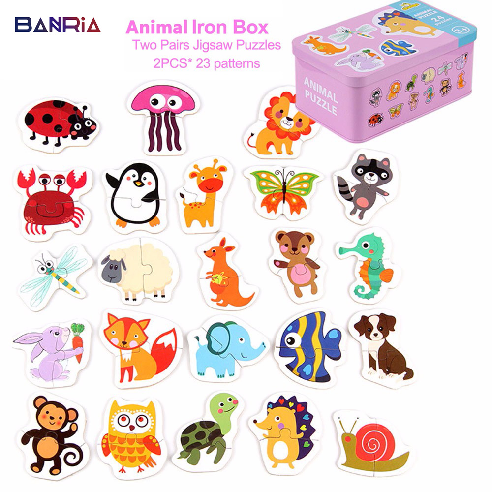 Kid Baby Cognition Wooden Puzzle Toys Baby Puzzles For Kids Educational Animal Fruit Cognition Learning Christmas Gifts