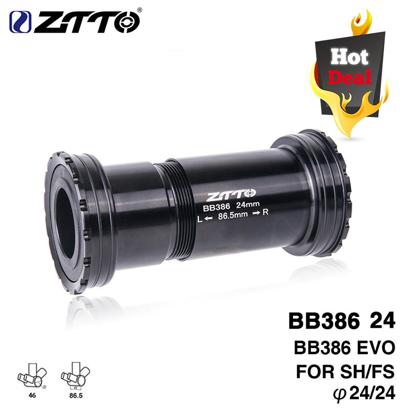BB386 EVO 24 Adapter Bicycle Press Fit Bottom Brackets Axle For MTB Road Bike Parts 24mm Crankset Chainset
