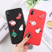 Moskado 3D Christmas Santa Claus Phone Case Cover For iphone 8 7 6 6S Plus XS Max XR X Soft Silicone Festival Design Tree Cases