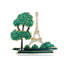 Cross-border hot creative dripping oil building brooch green alloy Eiffel Tower brooch spot alloy quartz watch with eiffel tower carve