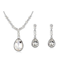Fashion water drop wedding jewellery sets for women wedding party accessories luxurious Austrian crystal pendant and earings set
