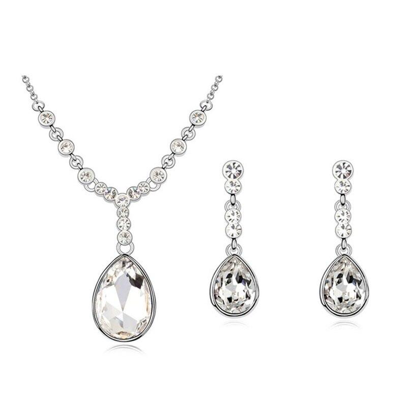 Ensembles de bijoux de mariage goutte d'eau de mode pour les femmes accessoires de fête de mariage ensemble de pendentif et boucles d'oreilles en cristal autrichien luxueux