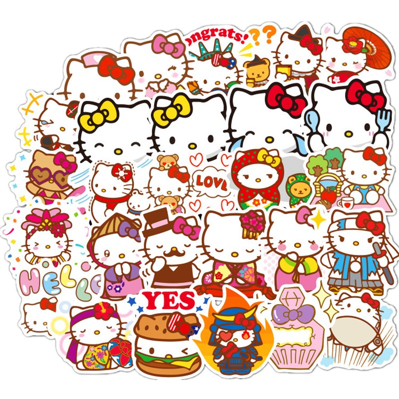100pcs Hello Kitty Graffiti Stickers Stick Skateboard Motorcycle Trolley Box Stickers Children Zhi Cartoon Stickers
