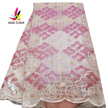 French Austria African Ankara Traditional Fashionable Textiles Material Polyester Embroidery Sequin Net Lace Fabrics for Wedding