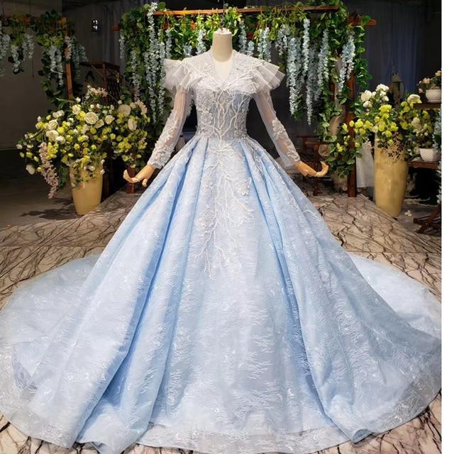 BGBW 2020 Long Sleeves Dresses Deep V Neck Beam Light Blue Heap Girl Beauty Pageant Dress Party Dresses Hollow Out Back