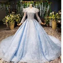 BGBW 2020 uzun kollu elbiseler derin V boyun işik mavi yığın kız güzellik Pageant elbise parti elbiseler oymak arka