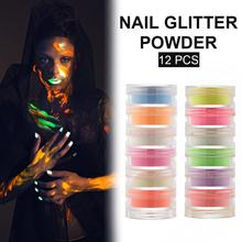 12-Color Painted Nails Luminous Powder DIY Neon Phosphor Nail Glitter for Halloween