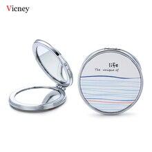 Vicney Blue Orange Element Pattern New Portable Makeup Mirror Round Pop-Up Pocket Fashion Fresh Beauty Accessories