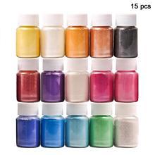 15 цветов для мыловарения/мыло красители/Нейл-арт/тени для век DIY слюдяной порошковый пигмент комплект поставки порошок смола в бутылке
