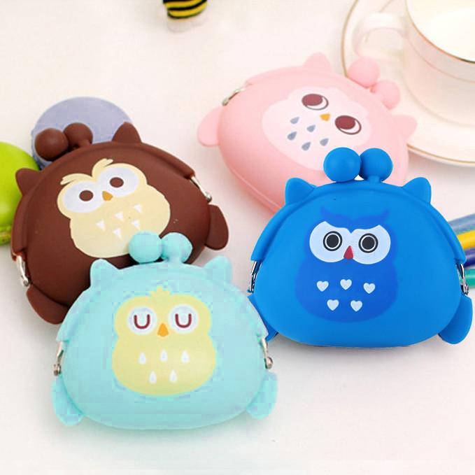 New Women Owl Silicone Jelly Wallet Change Bag Key Pouch Coin Purse Mini coin purse For Women Bolsa da moeda das mulh#30