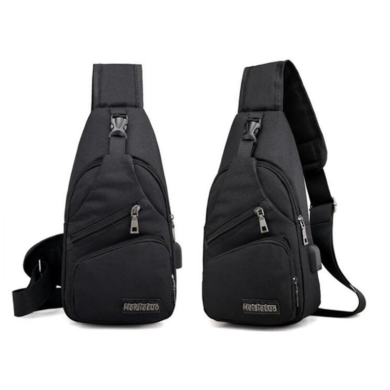 New Men Chest Bag With USB Charge Small Backpack 2020 Man Leisure Waterproof Oxford Cloth Multifunction Shoulder Bag
