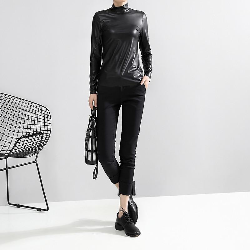 [EAM] Women Black Brief Pu Leather Temperament T-shirt New Stand Collar Long Sleeve  Fashion Tide  Spring Autumn 2020 JY93301 5