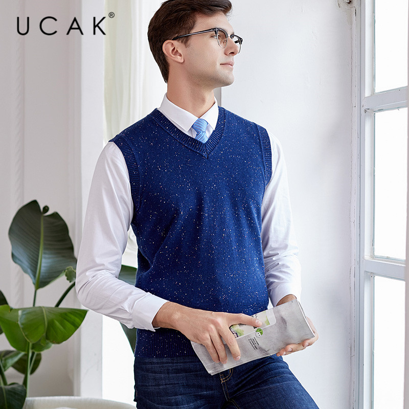 UCAK Brand Pure Merino Wool Sweater Vest 2019 New Arrival Casual Autumn Winter Pull Homme Streetwear Warm Sweaters Clothes U3115