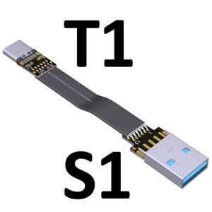 Image 2 - 3A USB 유형 C 90도 USB C 케이블 리본 플랫 각도 아래로 구즈넥 타입 USB 3.0 유형 C 고속 데이터 케이블
