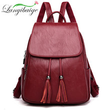 Gran capacidad de flecos dobles de las mujeres mochila de cuero de las mujeres mochila femenina ladys de marca de mochila bolso de escuela