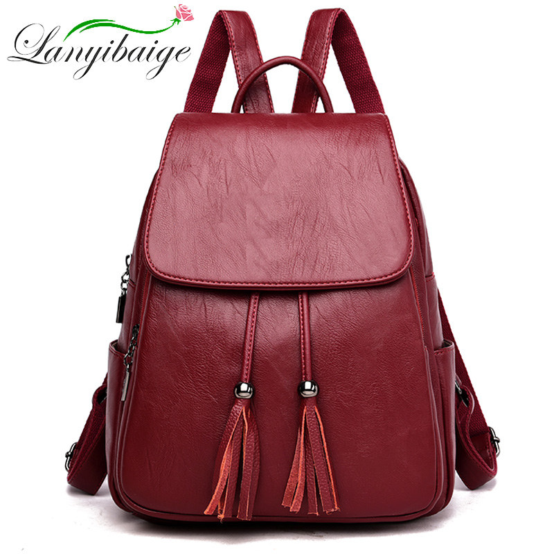 Large Capacity Double Tassel Women's Backpack Women Leather Backpack Mochila Feminina Ladys Travel Backpack Brand School Bag