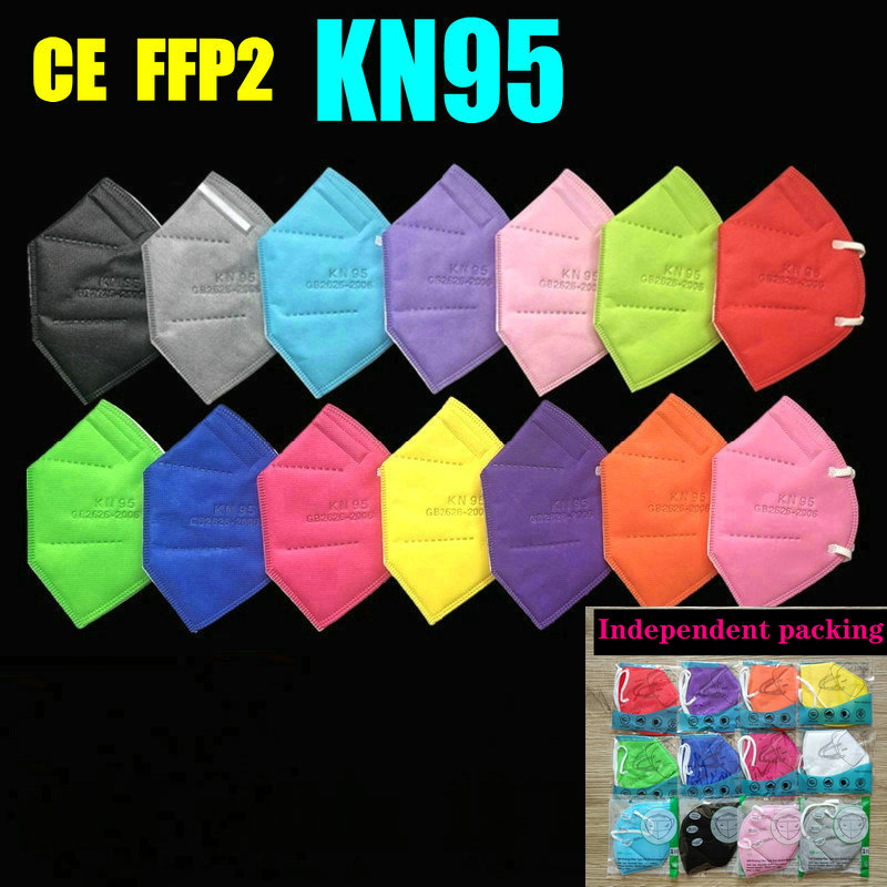 15 colors FFP2 MASK KN95 5 Layers Adult Black Fabric Mask Mascarillas Protective Mouth Face Mask Filter Respirator Masque