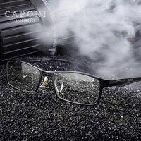 CAPONI Brand Titanium Eyeglasses Frame For Men Clear Lens Flexible TR90 Temples Eyewear Square Full Rim Frame Glasses J9064