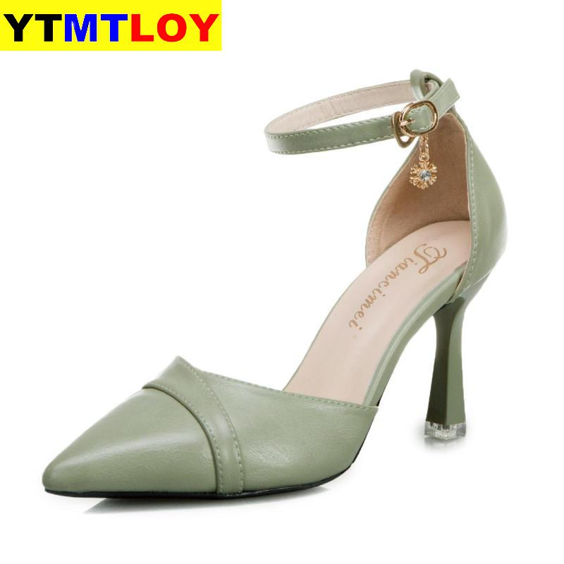 New Shoes Woman Sweet Concise Women Party Wedding Shallow Ladies Thin High Heel Pumps  Green Shoes Black Sexy Heels Hollow Out