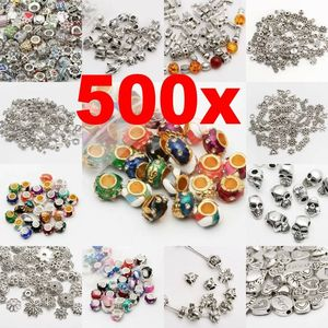 Wholesale Tibetan Silver ColorMixed Size Big Hole Loose Beads For Jewelry Making DIY Bracelet Needlework Charm Supplier