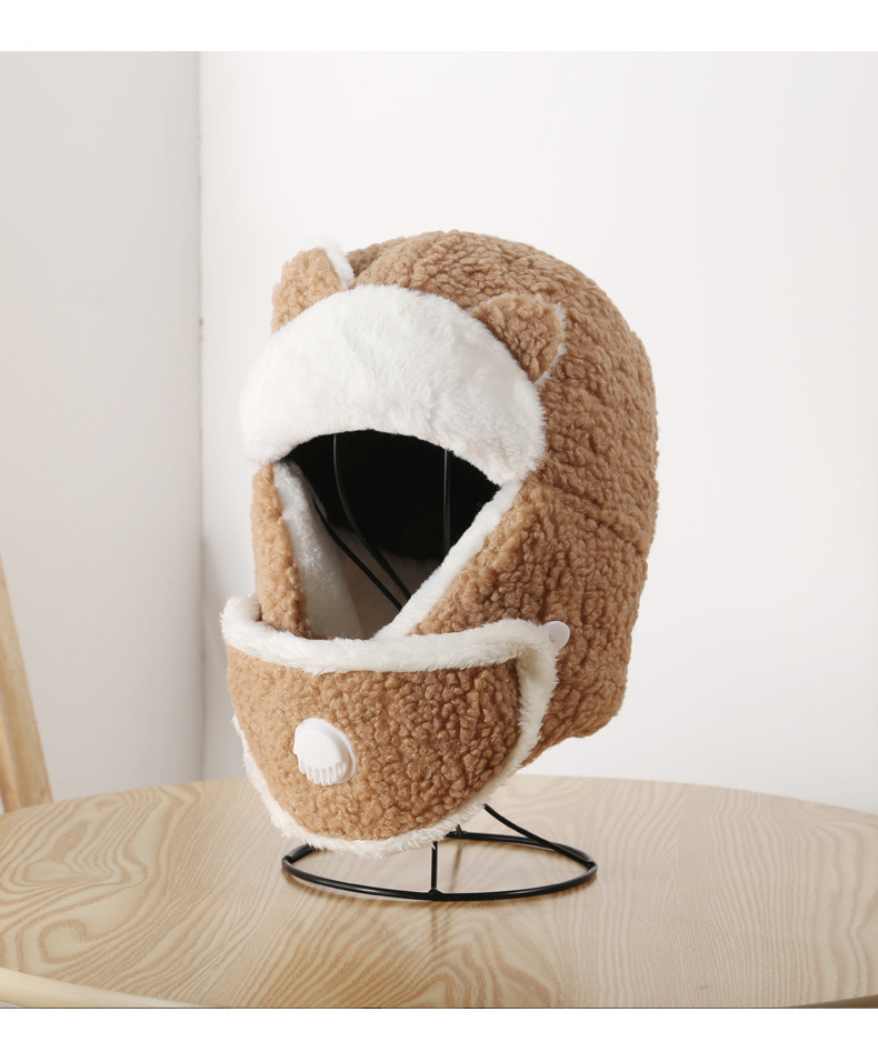 Korean Women's Autumn and Winter Warmth and Thickened Bib One-piece Ear Mask Lamb Hat Outdoor Street Cold-proof Lei Feng Hat