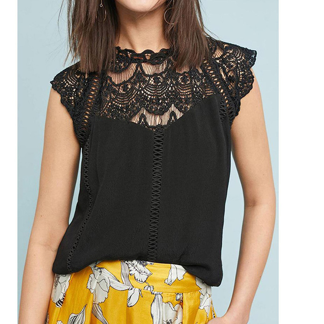 Summer 2021 Womens Tops And Blouses Lace Patchwork Sleeveless Solid Shirt Women Blouse Blusas Roupa Feminina 4