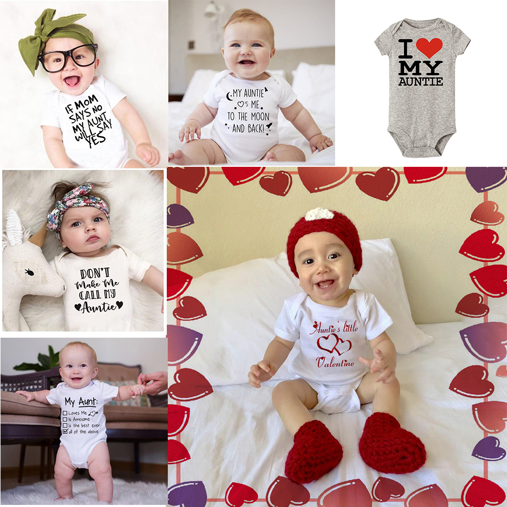 Baby Boys Girls Jumpsuit My Auntie Love Me To The Moon And Back New Soft Romper Letter Print Short Sleeve Clothes Outfit